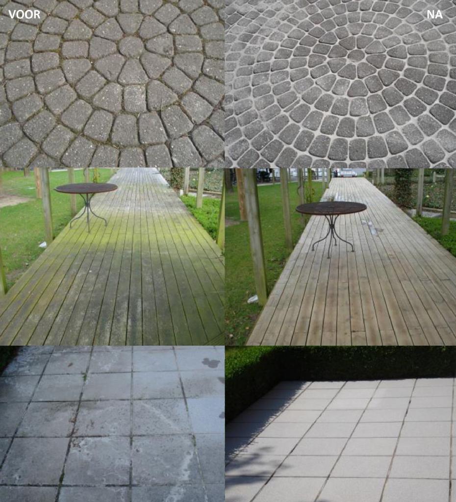 HG reinigingsproducten van Sierbestrating Brabant. Foto's van voor en na